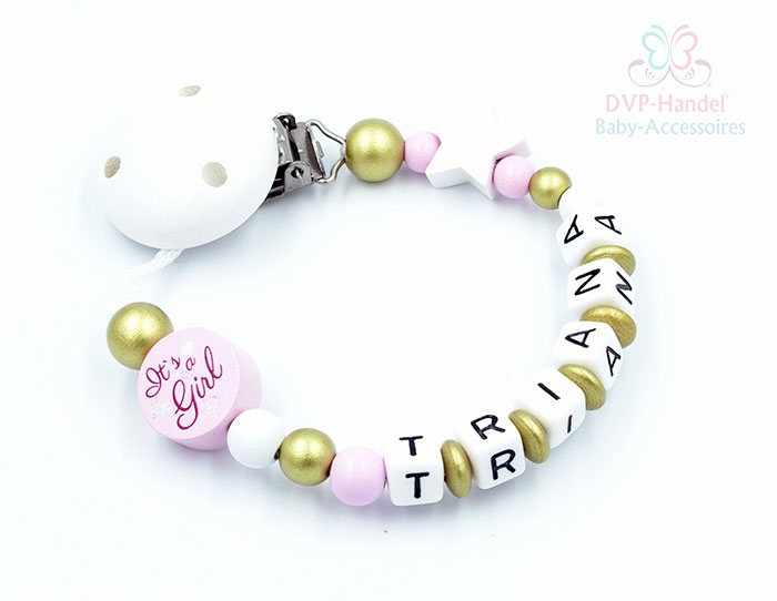 "Schnullerkette mit Namen - It´s a Girl ""Triana"""